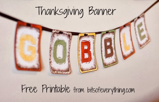 image relating to Printable Thanksgiving Banners called Thanksgiving Banner Bits of Nearly anything