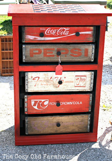 Soda crate dresser, shot by The Cozy Old Farmhouse, featured on Funky Junk Interiors