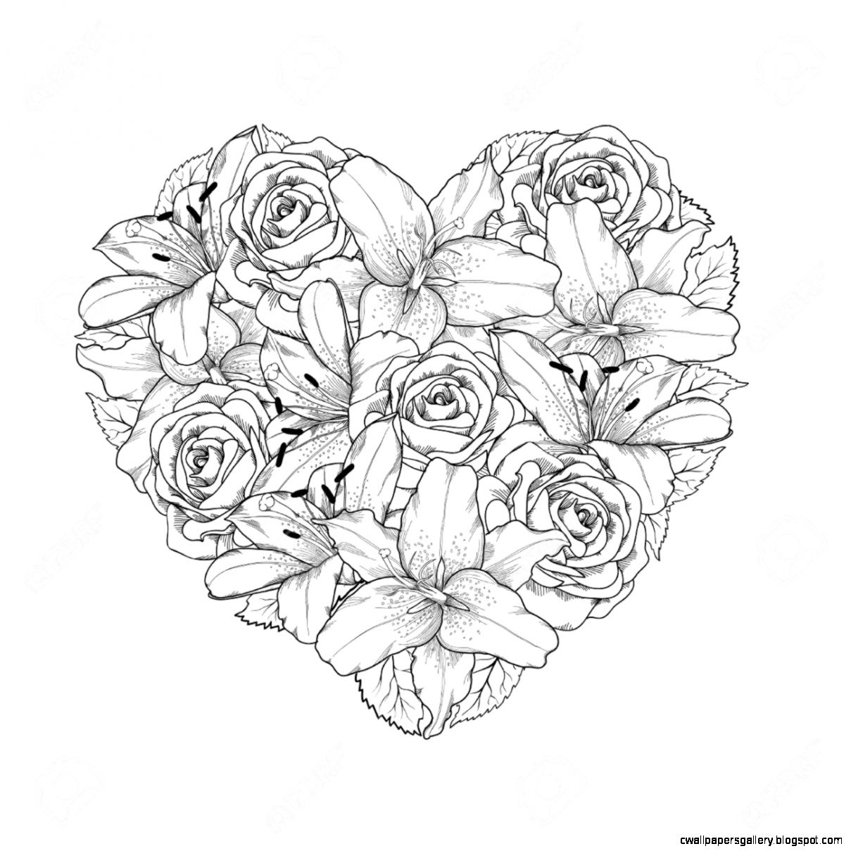 Beautiful Heart Decorated By Flowers Roses And Lilies Of Black