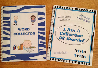 sight word dictionaries and collecting vivid verbs, amazing adjectives, character traits, and figurative language