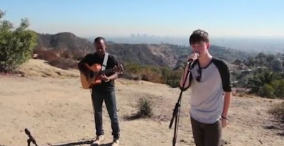 "Greyson recording his new ""Take My Heart Music Video"""