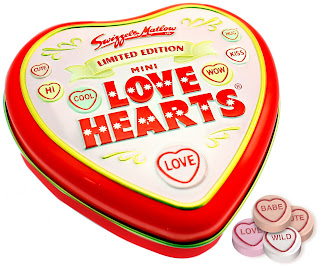 Love Hearts Retro Valentines Tin