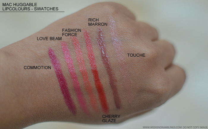 MAC Huggable Lipcolour Lipsticks Swatches Commotion Love Beam Fashion Force Cherry Glaze Rich Marron Touche