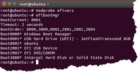 Terminal showing modeprobe efivars command and efi boot entries