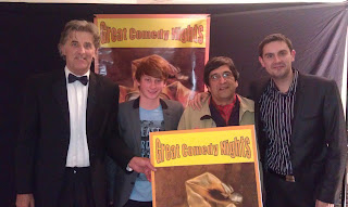 Steven Scaffardi, The Drought, Stand Up Comedy, Stand Up Comedian, Comedian, Comedy, Lad Lit, Chick lit for men, funny books, Golden Jesters: Compere Alan Sellers  (left) with finalists Chris Blackmore,   Vahid Janaguard, and yours truly!