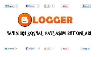 Blogger Yayın İçi Sosyal Paylaşım Butonları