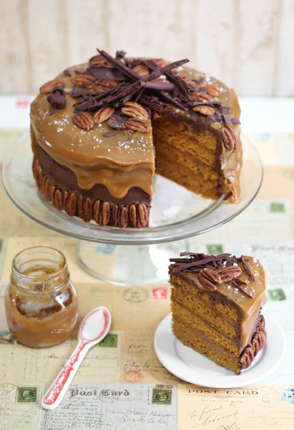 Chocolate Turtle Pumpkin Torte