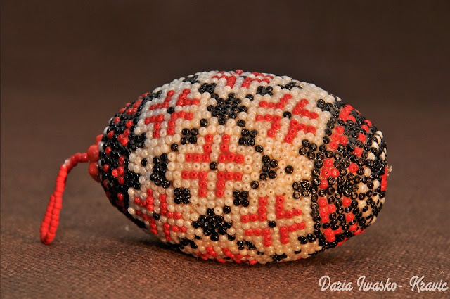 Beaded Egg Made by Ukrainian Artist Daria Iwasko