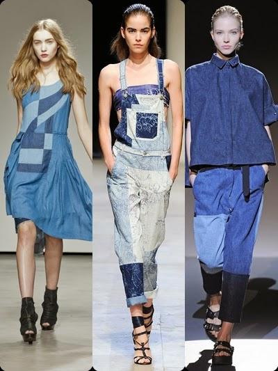 Denim Jeans Calças de ganga patchwork - Tendência primavera- verão 2015