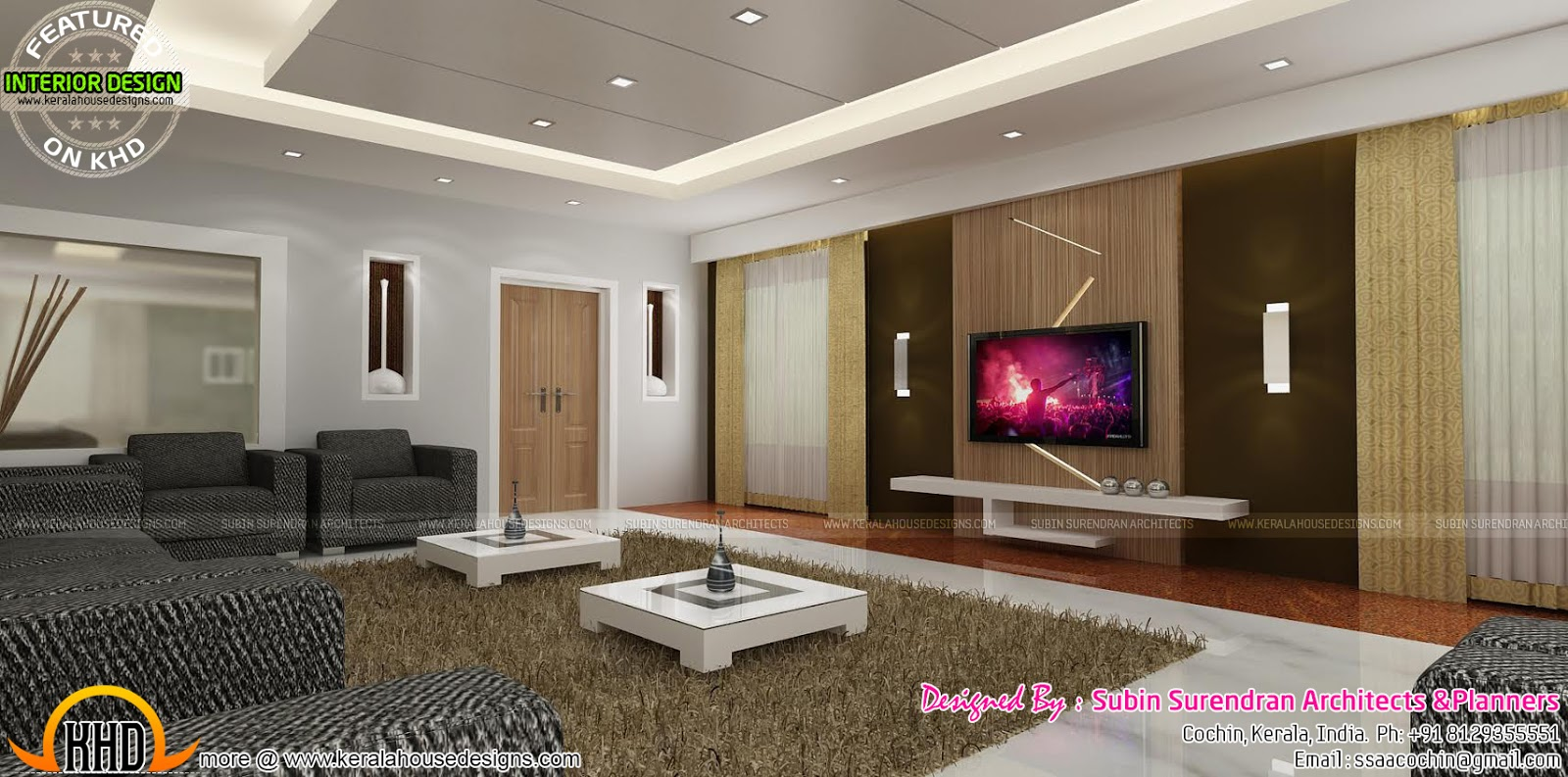 Living rooms modern kitchen interiors in kerala kerala for Kerala interior designs