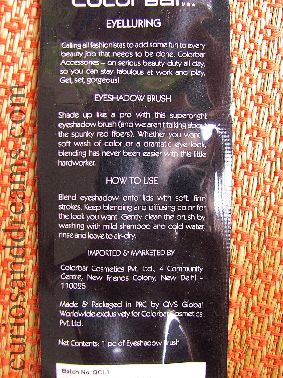 Colorbar Eyelluring Eyeshadow Brush Review