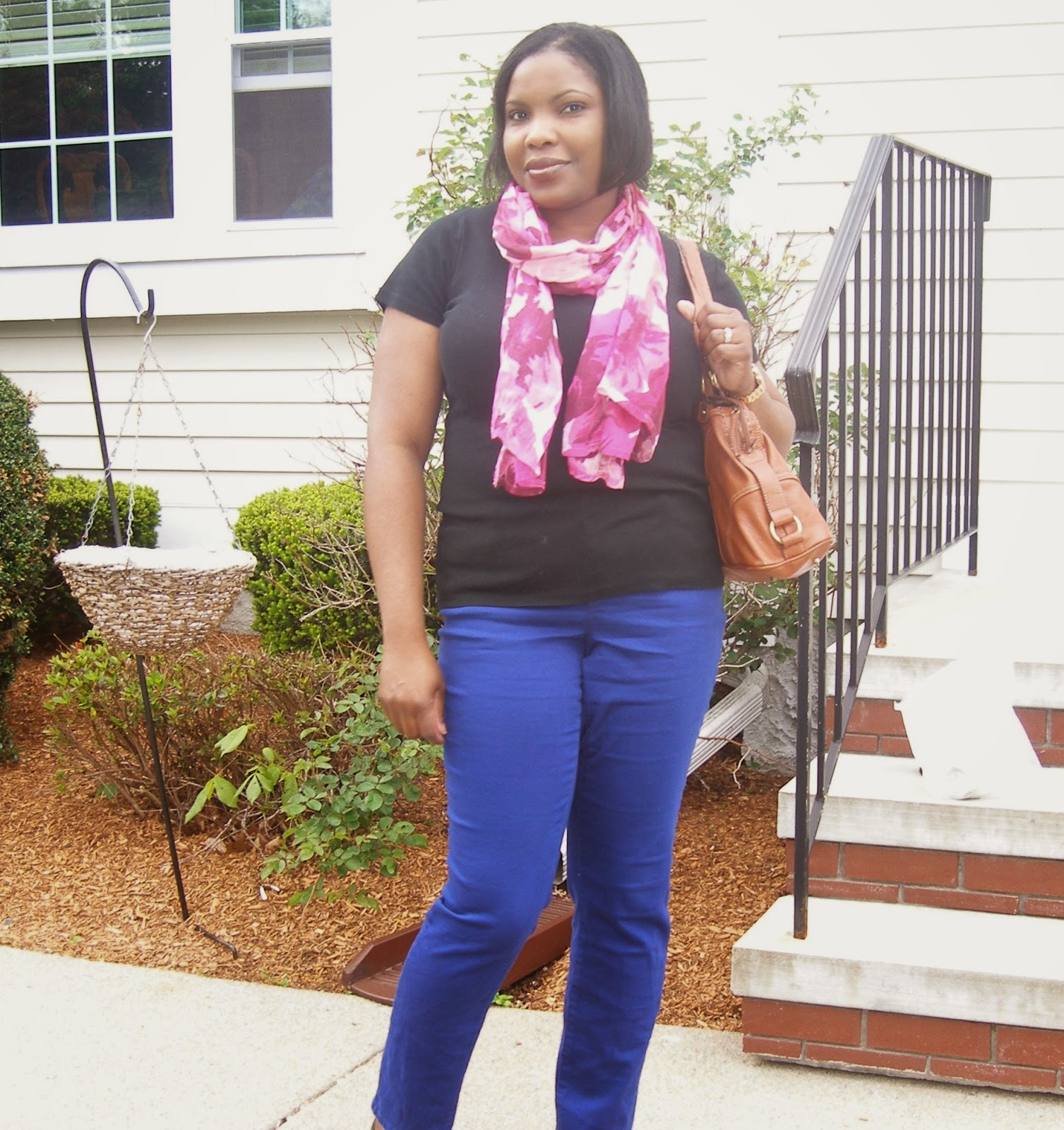 floral scarf, loft scarves, Blue skinny jeans, mid rise skinny jeans