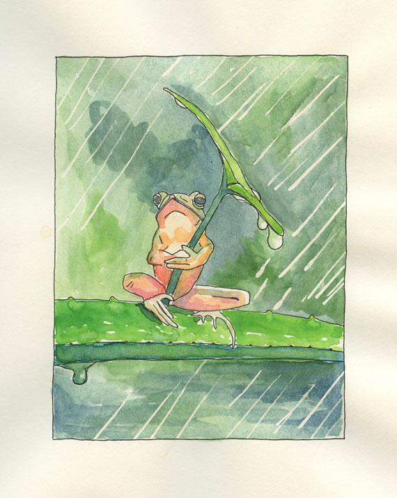 Watercolor Painting of Frog Holding Umbrella Artist Journal Page