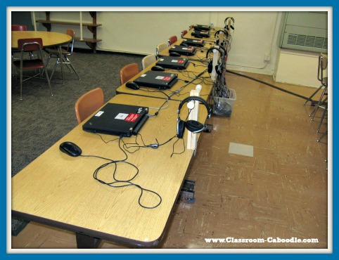 Elementary computer lab laptops on table