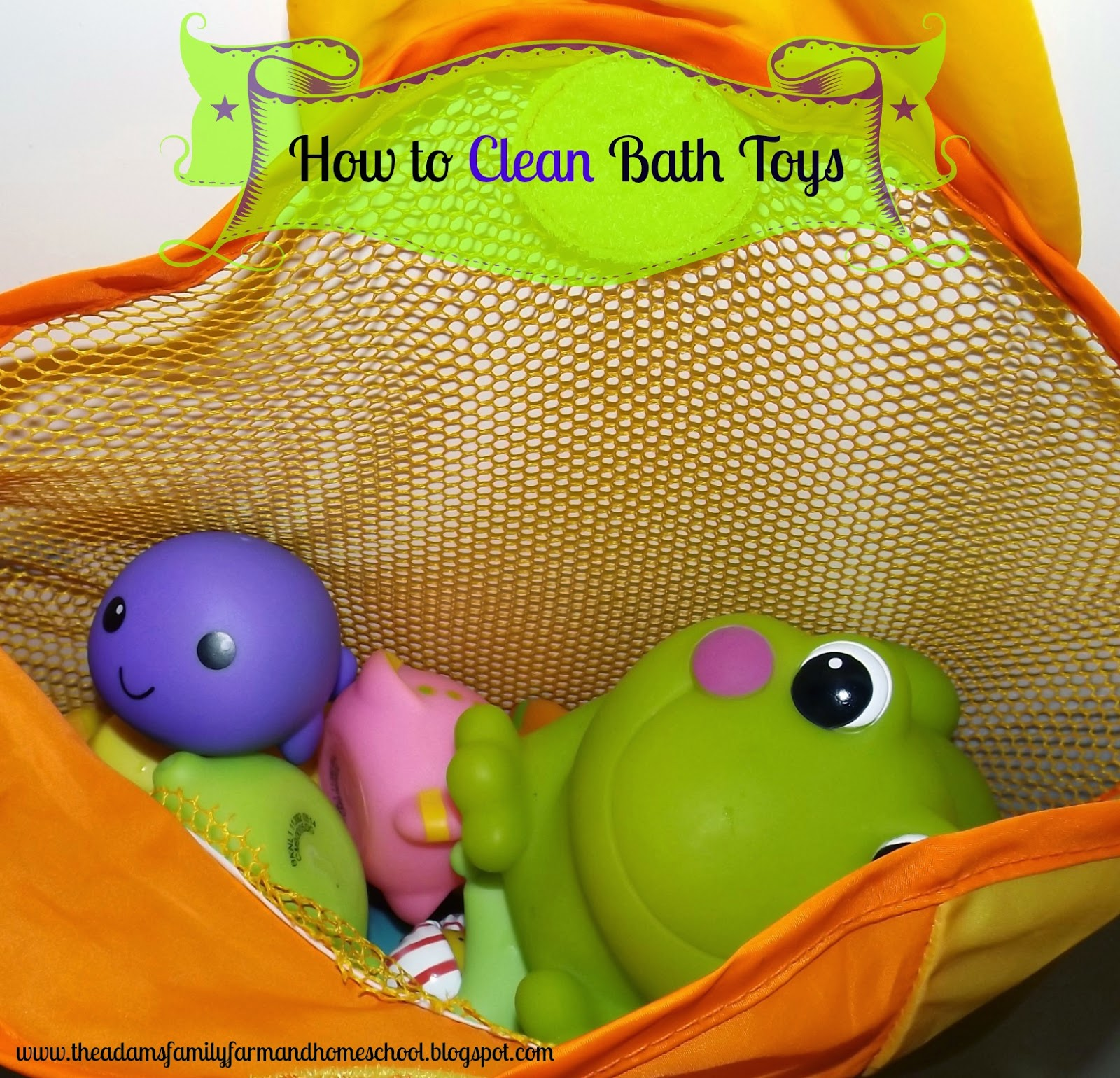 Bath toys in a mesh bath toy holder