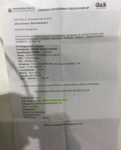 SORTEIO DA DEFENSORIA PUBLICA.