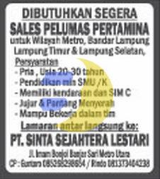 Lowongan Kerja Lampung, PT. Sinta Sejahtera Lestari