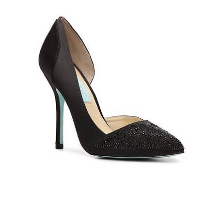 Betsey Johnson black closed high heeled d'orsay pumps with embellishments