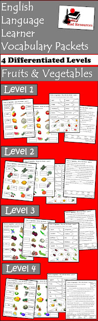 Fruits and vegetables ESL vocabulary packet with four differentiated levels - free download from Raki's Rad Resources