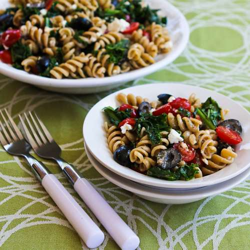 ... Whole Wheat Pasta Salad with Fried Kale, Tomatoes, Olives and Pesto