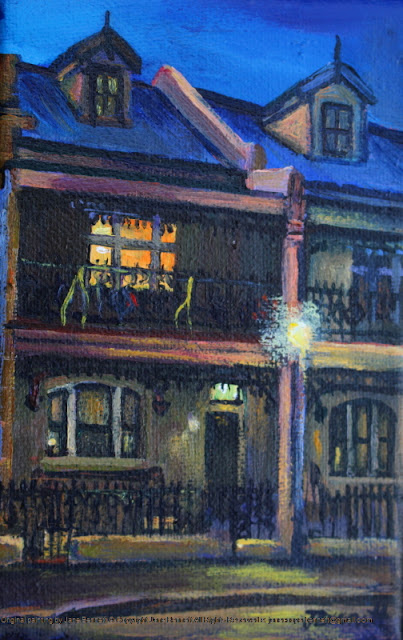 plein air oil painting of heritage terrace house Millers Point at night by industrial heritage artist Jane Bennett