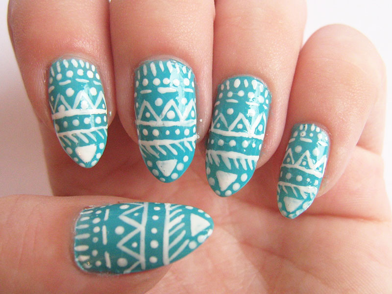 mint aztec nails Golden Rose with protein 329 242