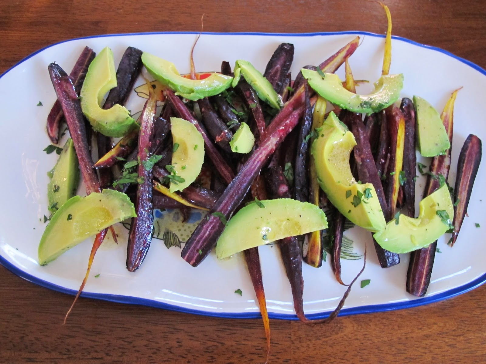 Roasted Carrots with Avocado and Lemon Dressing