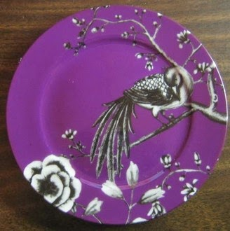 http://www.decorativedishes.net/Purple-Plum-Black-White-Bird-Branch-Plate-M/