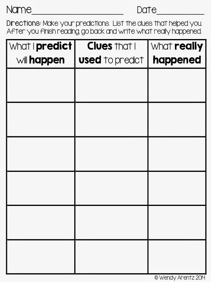 Read With Me ABC Mentor Text for Predicting – Making Predictions Worksheet