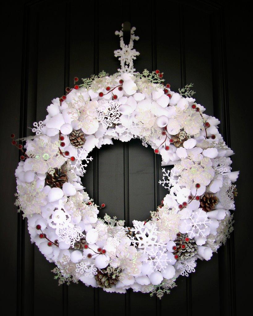 Lighted Paper Snowflake Wreath Mason Jar Snow Globes