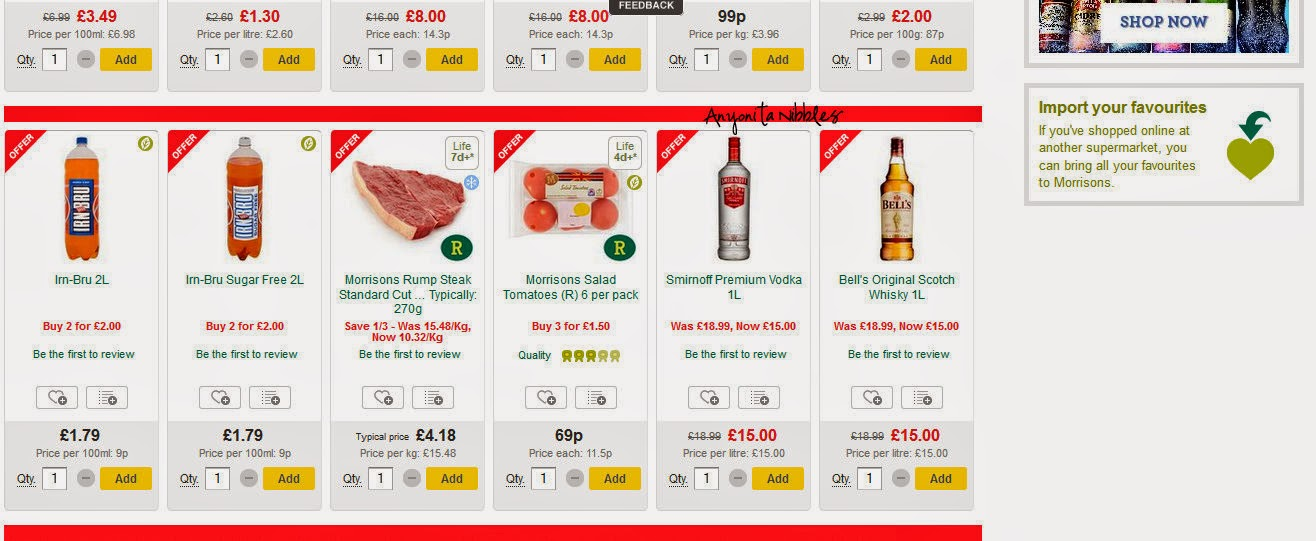 Products from Morrisons Website