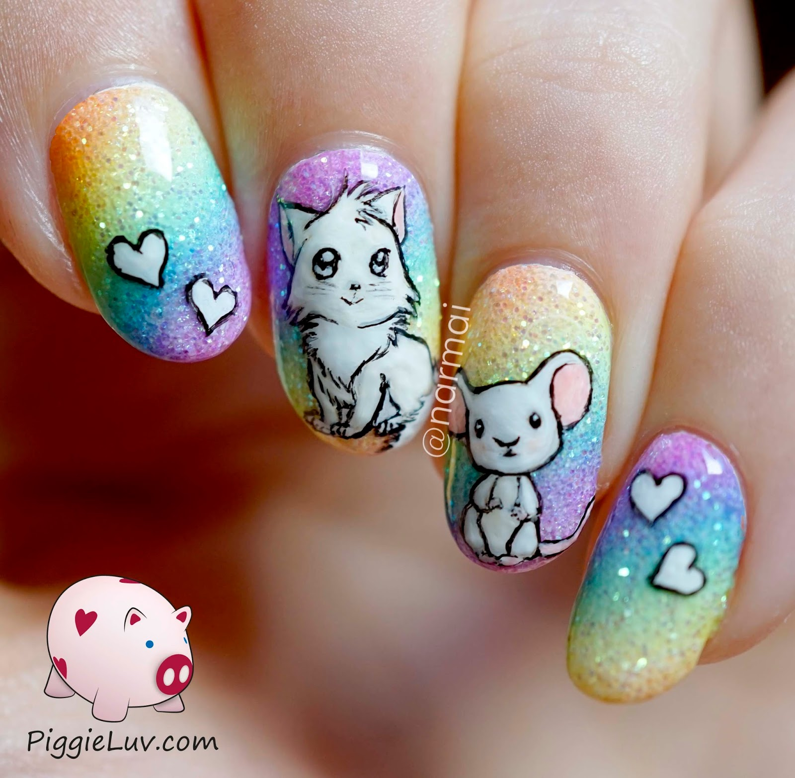 Piggieluv Cat Astrophic Glitter Rainbow Nail Art