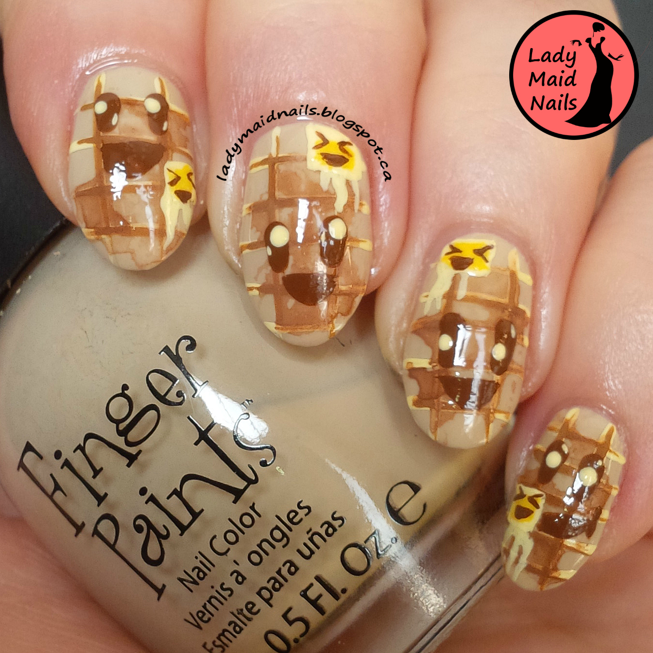Lady Maid Nails: January 4, Happiness, Kawaii Nail Art, Waffles