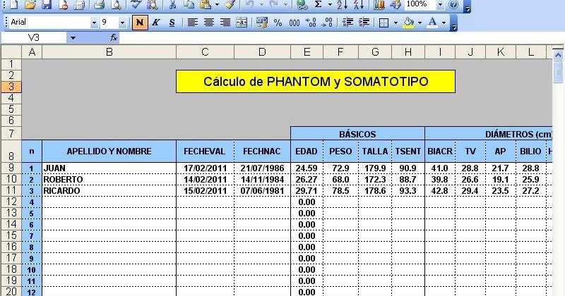 Descargar Planilla Excel C Lculo De Phantom Y Somatotipo