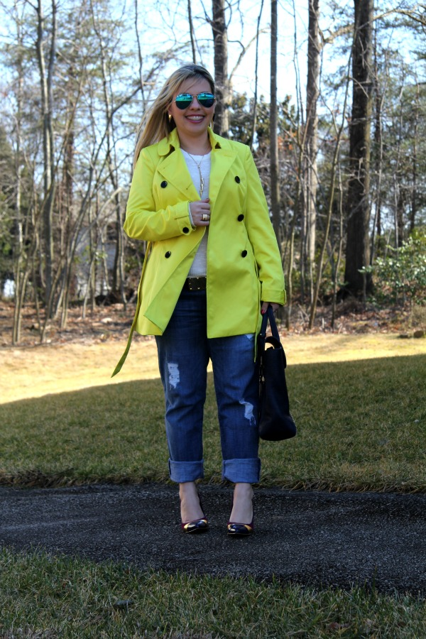 Sold Denim Distressed Boyfriend Jeans, INC International Concepts Short Trench Coat - White Sweater from TJ Maxx, Shoes by Sole Society, 3.1 Phillip Lim Pashli Satchel, Ray Ban Aviator Sunglasses with Blue Lenses