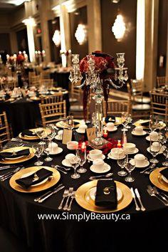 Glam Sparks Black Gold Wedding Reception Decor | Prom and Wedding