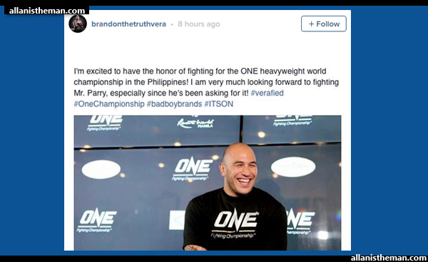 Brandon Vera vs. 'Chopper' Parry for ONE FC heavyweight title in Manila