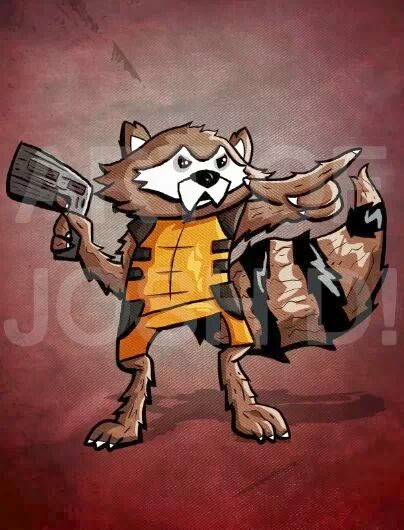 A picture of an art print of Rocket Raccoon from Guardians of the Galaxy by Marvel comics