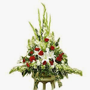 Sympathy arrangement-with lilies and roses Delivery Korea