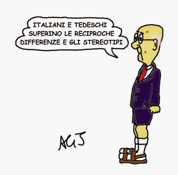 Napolitano, germania, europa, satira, vignetta
