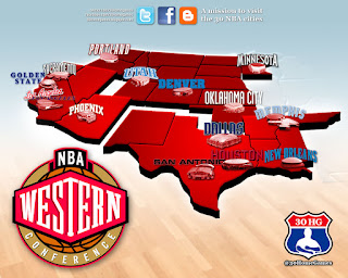 nba map, league, western conference