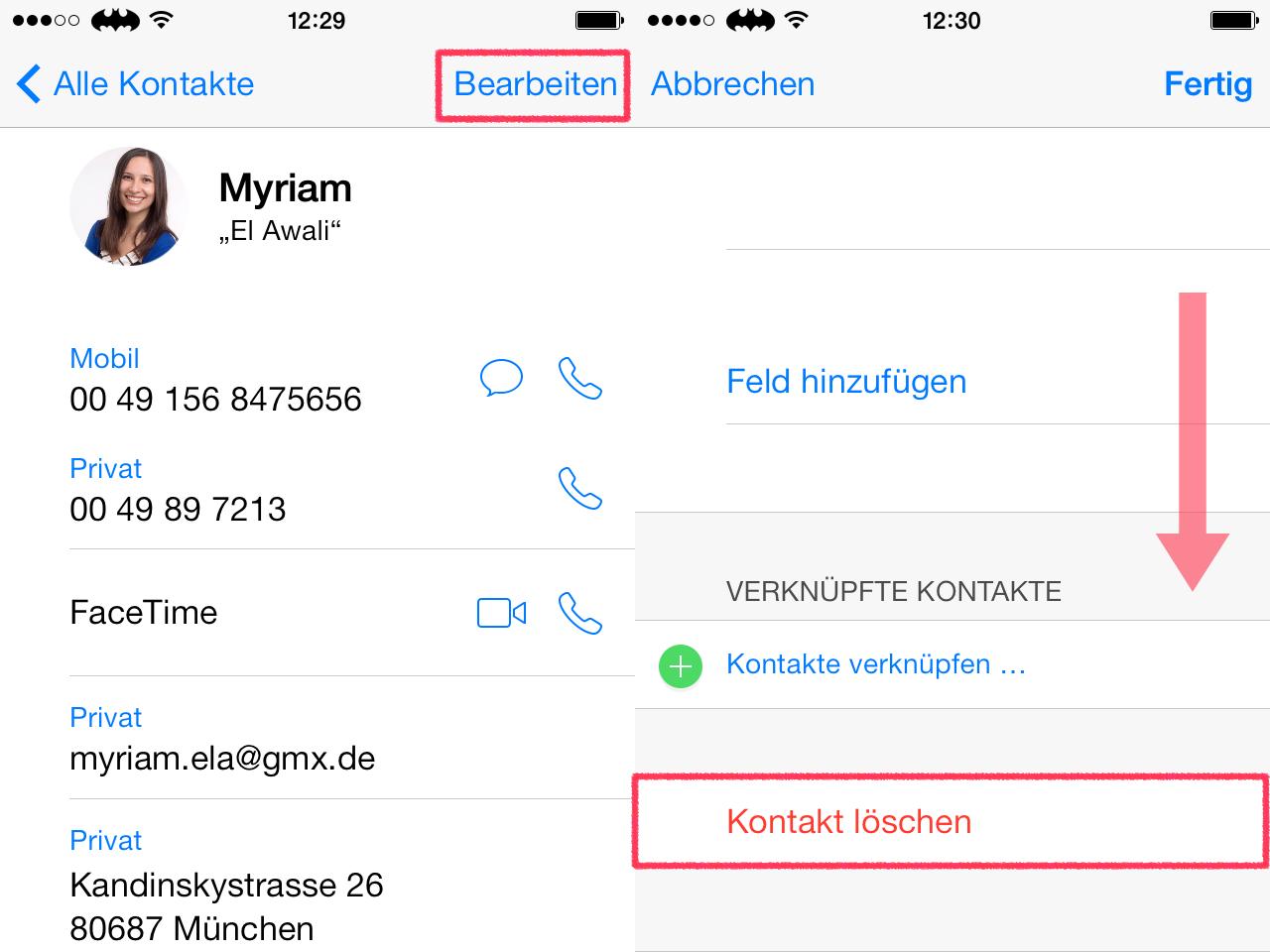 Kontakte löschen iphone