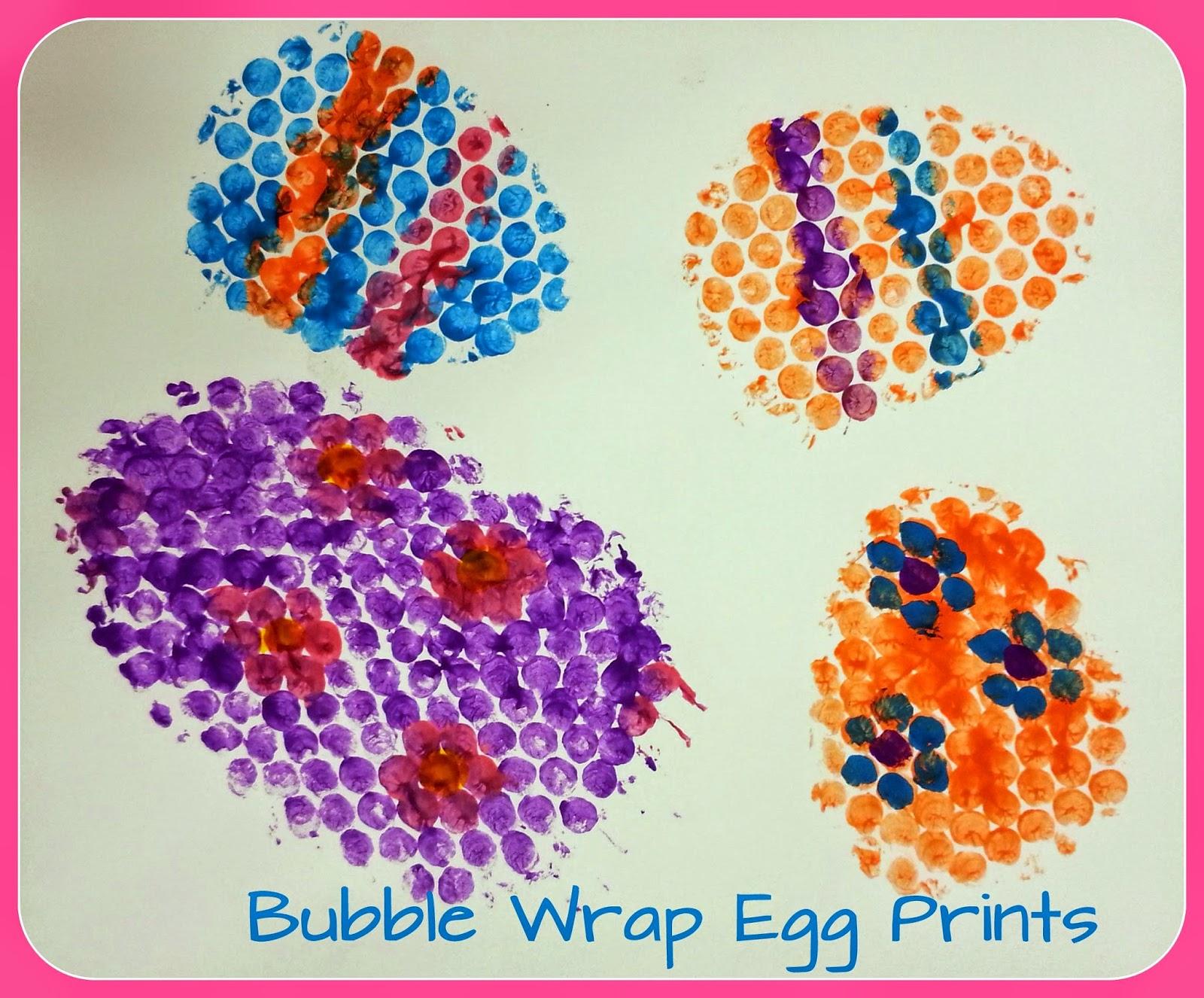 bubble wrap egg prints choices for children