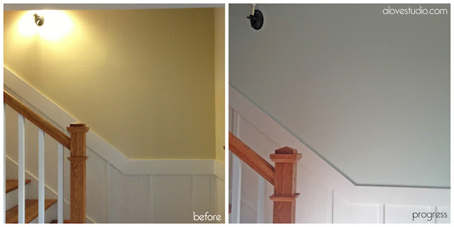 painting the basement stairway