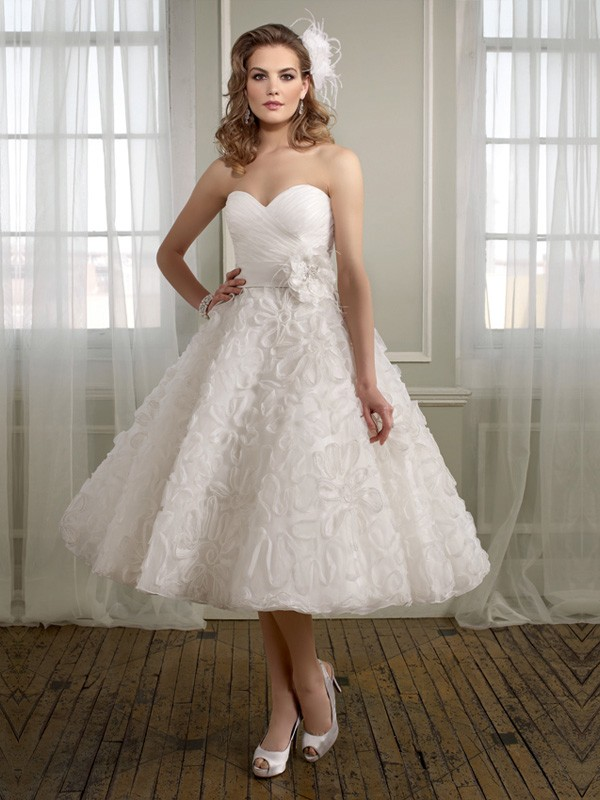 tea length ball gown wedding dress