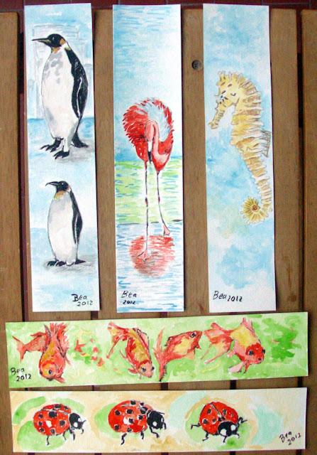 Marcadores de Livros   Flamingos,Pinguins e Cavalos marinhos