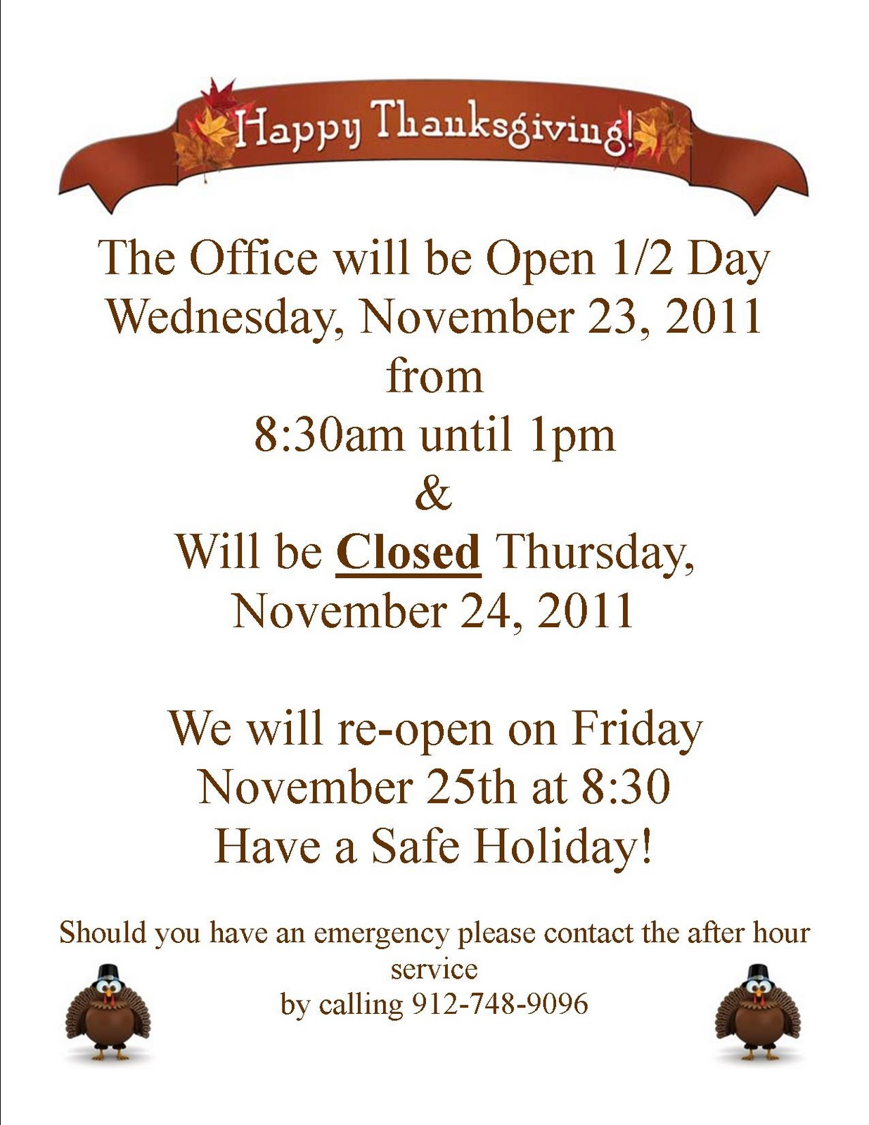 Watch more like Office Closure Signs For Holidays