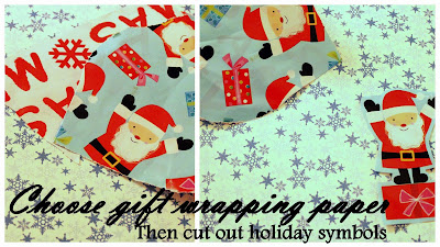 Cut out holiday shapes from gift wrapping paper and make a gift tag