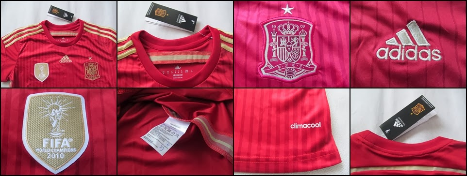 Detail Jersey Bola Grade Ori Spain Home Ladies Official World Cup 2014