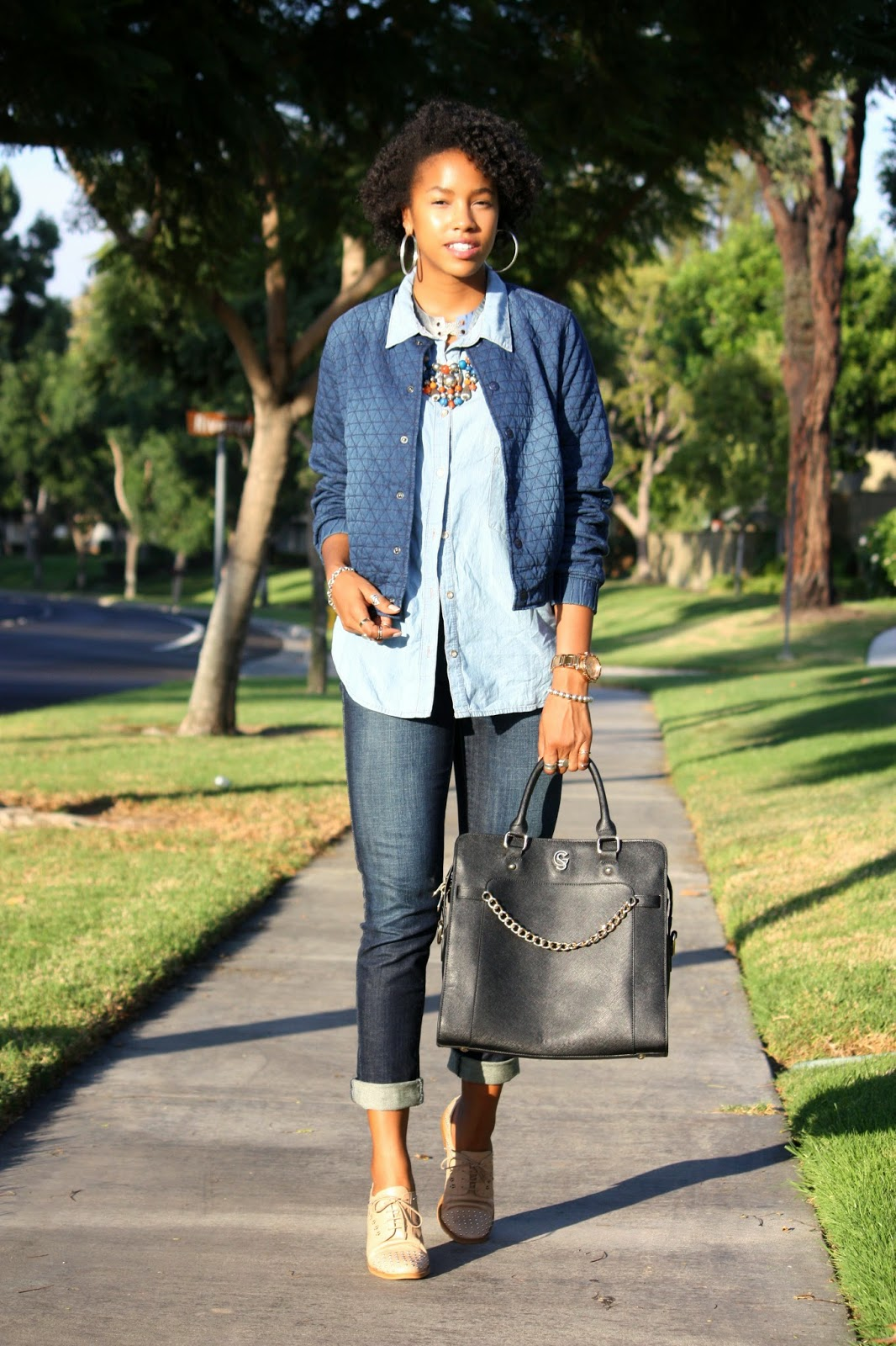 Wearing H&M denim jacket Levi's jeans Sam Edelman studded oxfords with a Gregory Sylvia bag